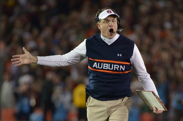 Jan 6, 2014; Pasadena, CA, USA; Auburn Tigers head coach Gus Malzahn instructs during the first half of the 2014 BCS National Championship game against the Florida State Seminoles at the Rose Bowl. Kirby Lee-USA TODAY Sports