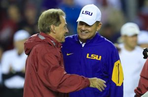 Nov 7, 2015; Tuscaloosa, AL, USA; Alabama Crimson Tide head coach Nick Saban and LSU Tigers head coach Les Miles greet each other prior to the game at Bryant-Denny Stadium. Mandatory Credit: Marvin Gentry-USA TODAY Sports