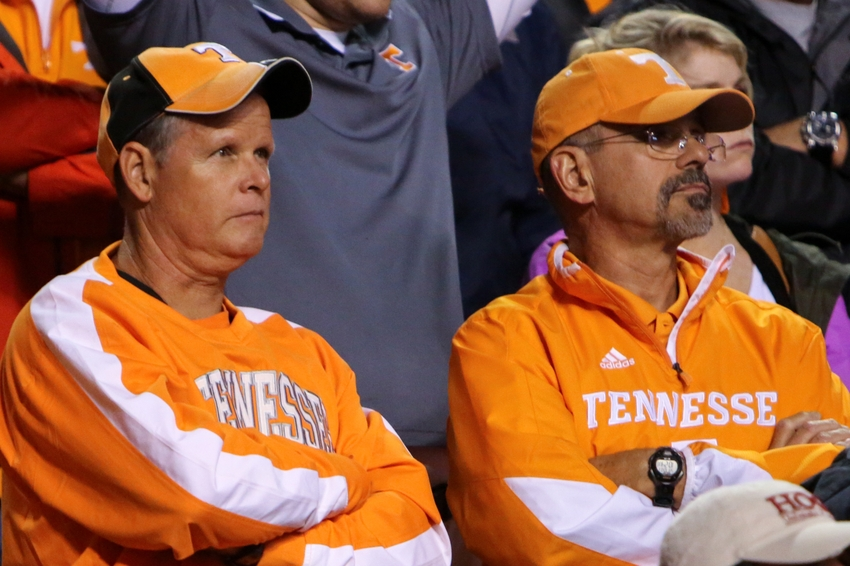 Oct 3, 2015; Knoxville, TN, USA; Tennessee Volunteer fans during the second half against the Arkansas Razorbacks at Neyland Stadium. Arkansas won 24 to 20. Mandatory Credit: Randy Sartin-USA TODAY Sports