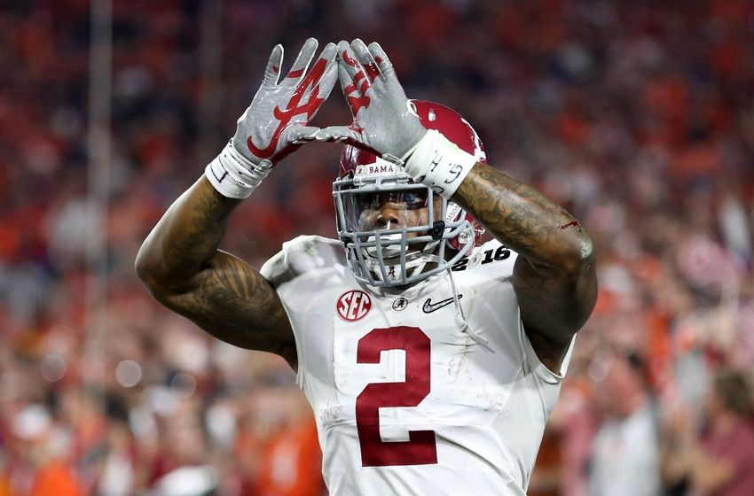 Jan 11, 2016; Glendale, AZ, USA; Alabama Crimson Tide running back Derrick Henry (2) celebrates after scoring a touchdown against the Clemson Tigers in the first quarter in the 2016 CFP National Championship at University of Phoenix Stadium. Mandatory Credit: Mark J. Rebilas-USA TODAY Sports