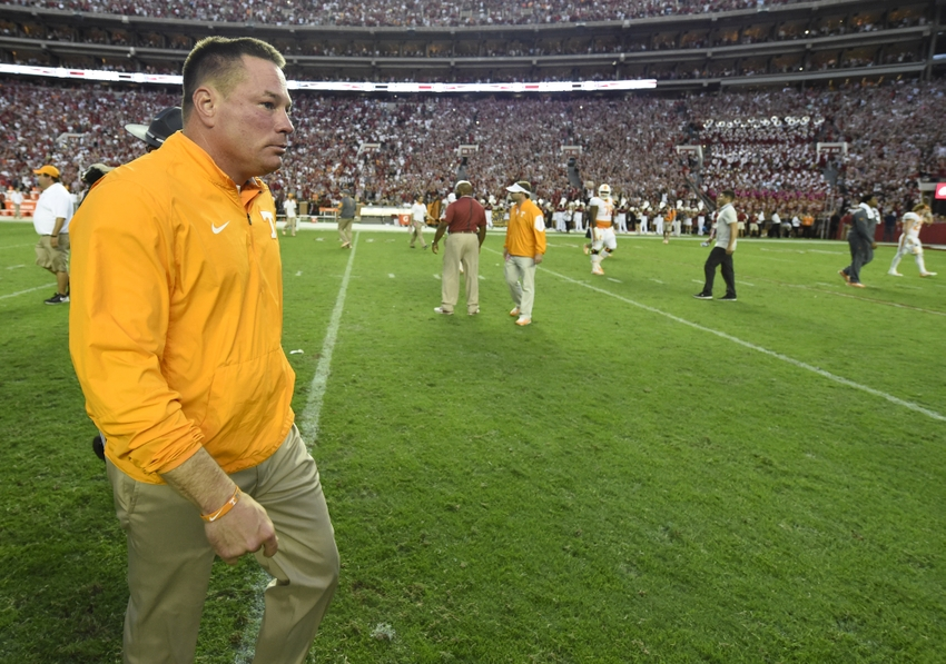 Oct 24, 2015; Tuscaloosa, AL, USA; Tennessee Volunteers head coach Butch Jones walks off the following their 19-14 loss to the Alabama Crimson Tide at Bryant-Denny Stadium. Mandatory Credit: John David Mercer-USA TODAY Sports