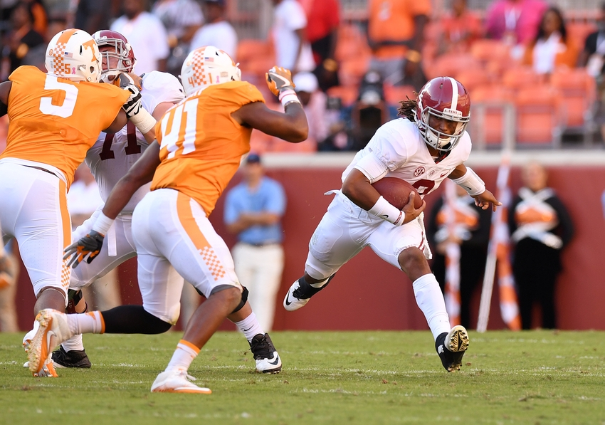 Oct 15, 2016; Knoxville, TN, USA; Alabama Crimson Tide quarterback Jalen Hurts (2) carries up the field against the Tennessee Volunteers during the second quarter at Neyland Stadium. Mandatory Credit: John David Mercer-USA TODAY Sports