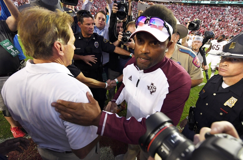 Oct 22, 2016; Tuscaloosa, AL, USA; Alabama Crimson Tide head coach Nick Saban greets Texas A&M Aggies head coach Kevin Sumlin midfield following the Alabama 33-14 victory over the Texas A&M Aggies at Bryant-Denny Stadium. Mandatory Credit: John David Mercer-USA TODAY Sports