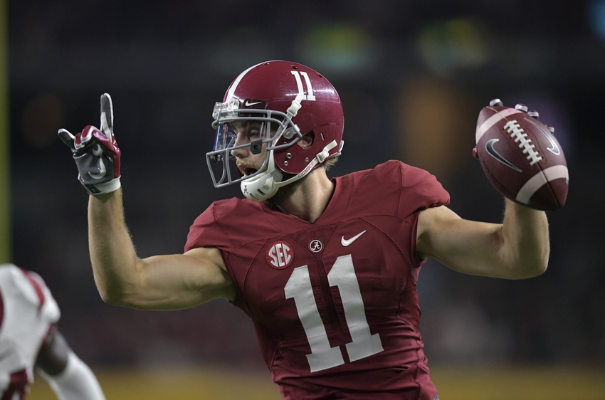 Sep 3, 2016; Arlington, TX, USA; Alabama Crimson Tide wide receiver Gehrig Dieter (11) reacts after catching a touchdown pass during the second half against the USC Trojans at AT&T Stadium. Mandatory Credit: Kirby Lee-USA TODAY Sports