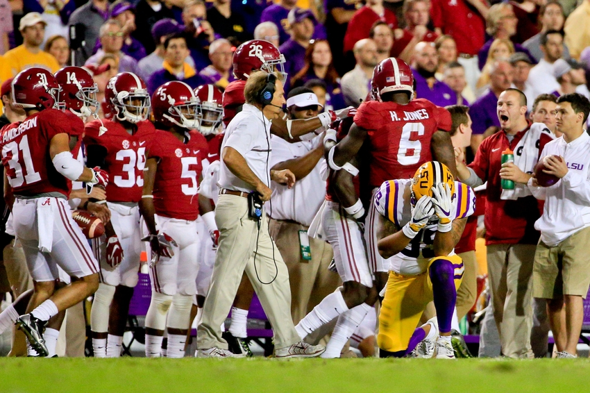 Nov 5, 2016; Baton Rouge, LA, USA; LSU Tigers tight end DeSean Smith (89) reacts after dropping a pass on fourth down during the fourth quarter of a game against the Alabama Crimson Tide at Tiger Stadium. Alabama defeated LSU 10-0. Mandatory Credit: Derick E. Hingle-USA TODAY Sports