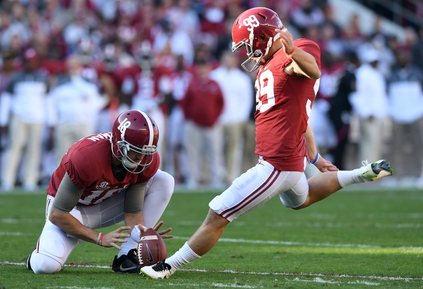 Nov 26, 2016; Tuscaloosa, AL, USA; Alabama Crimson Tide place kicker Adam Griffith (99) kicks a field goal against the Auburn Tigers during the first quarter at Bryant-Denny Stadium. Mandatory Credit: John David Mercer-USA TODAY Sports