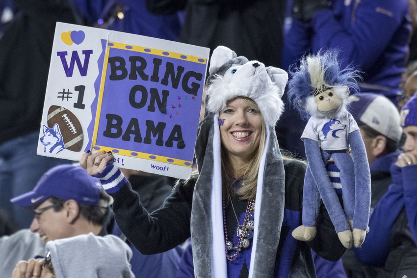 December 2, 2016; Santa Clara, CA, USA; A Washington Huskies fan holds up a sign during the fourth quarter in the Pac-12 championship against the Colorado Buffaloes at Levi