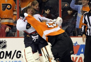 Braden Holtby (70) - Ray Emery (29) Mandatory Credit: Eric Hartline-USA TODAY Sports