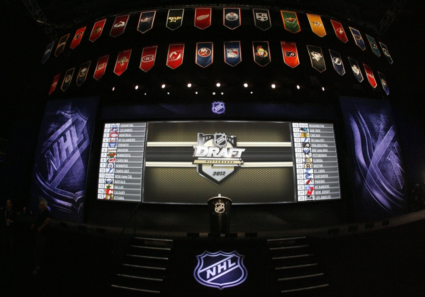 June 22, 2012; Pittsburgh, PA, USA; General view of the stage prior to the 2012 NHL Draft at CONSOL Energy Center.