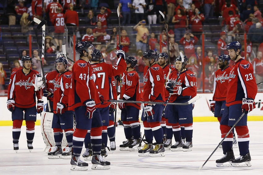 Apr 13, 2014; Washington, DC, USA; The Washington Capitals players wave to fans after their final game of the season against the Tampa Bay Lightning at Verizon Center. The Lightning won 1-0 in a shootout.