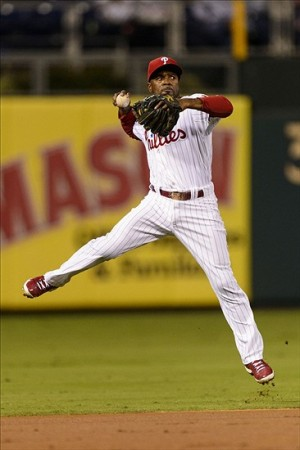 Despite declining numbers (and motivation?) Jimmy Rollins will likely do enough in 2014 to meet his vesting option for 2015.Mandatory Credit: Howard Smith-USA TODAY Sports