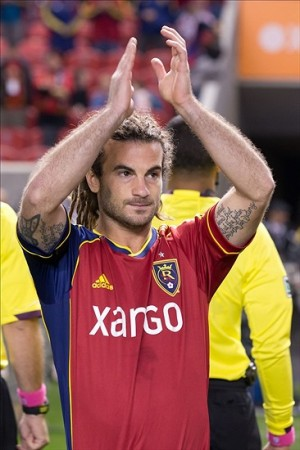 Fan favoriteand RSL captain Kyle Beckerman salutes RIOT fans prior to their last match of the season. Mandatory Credit: Russ Isabella-USA TODAY Sports