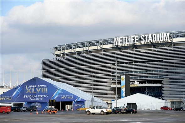 Jan 18, 2014; East Rutherford, NJ, USA; A general view of preparations for Super Bowl XLVIII at MetLife Stadium. Mandatory Credit: Joe Camporeale-USA TODAY Sports