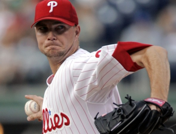 Philadelphia Phillies starting pitcher Ryan Madson throws against the Arizona Diamondbacks in the first inning of their baseball game Tuesday, July 25, 2006, in Philadelphia. In four innings, Madson gave up two runs, along with four wild pitches and two hit batters.(AP Photo/George Widman)