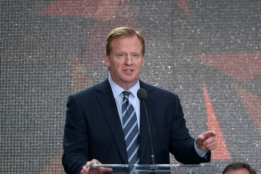 Feb 1, 2014; New York, NY, USA; NFL commissioner Roger Goodell speaks at the Super Bowl XLVIII handoff ceremony to the Arizona host committee on Super Bowl Boulevard on Broadway. Mandatory Credit: Kirby Lee-USA TODAY Sports