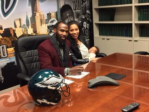 Safety Malcolm Jenkins and his family pose for a picture shortly before Jenkins agreed to a three-year deal with the team.