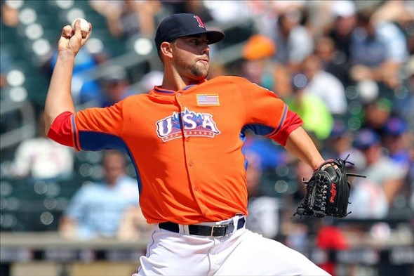 Jul 14, 2013; Flushing , NY, USA; USA pitcher Anthony Ranaudo throws a pitch during the 2013 All Star Futures Game at Citi Field. Mandatory Credit: Brad Penner-USA TODAY Sports