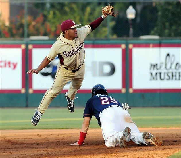 June 3, 2012; Tallahassee, FL, USA; Florida State Seminoles infielder Devon Travis (8) forces out at second Samford Bulldogs outfielder Brandon Miller (25) during the seventh inning in game six of the Tallahassee regional at Dick Howser Stadium. Mandatory Credit: Melina Vastola-USA TODAY Sports