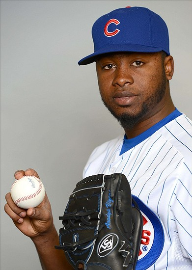 Feb 18, 2013; Mesa, AZ, USA; Chicago Cubs relief pitcher Arodys Vizcaino (41) poses for a picture during photo day at Fitch Park. Mandatory Credit: Jake Roth-USA TODAY Sports