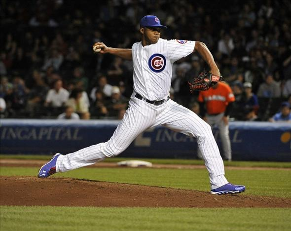 Sep 3, 2013; Chicago, IL, USA; Chicago Cubs relief pitcher Alberto