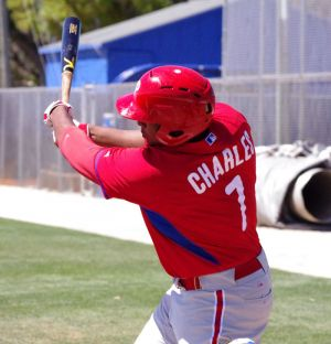 Art Charles takes a swing for the Philadelphia Phillies in a minor league spring training game on March 15, 2014 in Dunedin, Florida. Mandatory Credit: Jay Blue