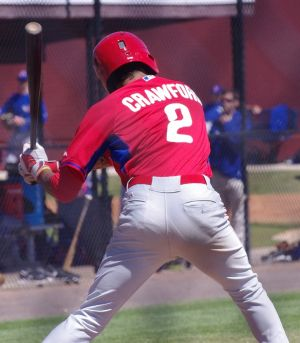 Phillies' shortstop J.P. Crawford begins his swing in Clearwater, Florida on March 14, 2014. Mandatory Credit: Jay Blue