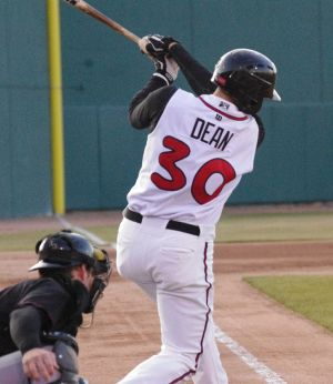 Matt Dean (30) takes a swing in Lansing, Michigan for the Lansing Lugnuts. Mandatory Credit: Jay Blue