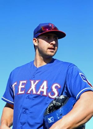 Feb 17, 2014; Surprise, AZ, USA; Texas Rangers third baseman Joey Gallo during team practice at Surprise Stadium. Mandatory Credit: Mark J. Rebilas-USA TODAY Sports