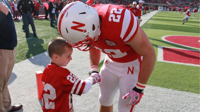 Cornhusker fan and brain cancer patient Jack Hoffman rushed for a touchdown in the spring scrimmage on Apr. 6.