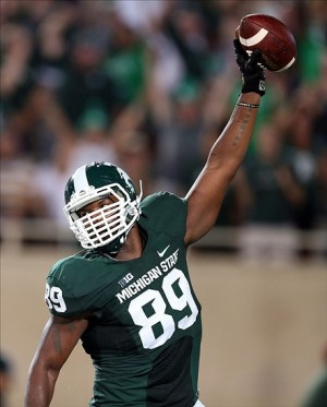 Michigan State Spartans defensive end Shilique Calhoun has more touchdowns than the Michigan State offense. Mandatory Credit: Mike Carter-USA TODAY Sports