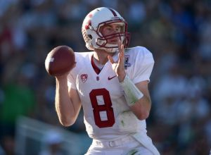 Jan 1, 2014; Pasadena, CA, USA; Stanford Cardinal quarterback Kevin Hogan (8) throws a pass against the Michigan State Spartans in the 100th Rose Bowl. Mandatory Credit: Kirby Lee-USA TODAY Sports