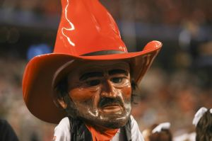 Jan 3, 2014; Arlington, TX, USA; Oklahoma State Cowboys mascot Pistol Pete during the game against the Missouri Tigers in the 2014 Cotton Bowl at AT&T Stadium. Missouri won 41-31. Mandatory Credit: Kevin Jairaj-USA TODAY Sports