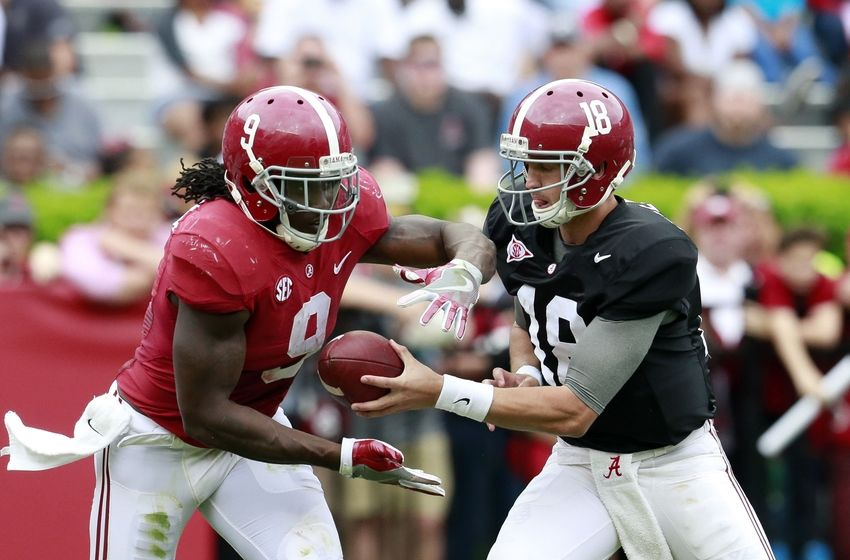 Apr 16, 2016; Tuscaloosa, AL, USA; Alabama Crimson Tide quarterback Cooper Bateman (18) hands the ball off too Alabama Crimson Tide running back Bo Scarbrough (9) at Bryant-Denny Stadium. Mandatory Credit: Marvin Gentry-USA TODAY Sports