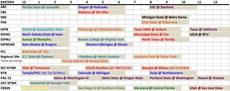 week 3 football schedule tv schedule college football