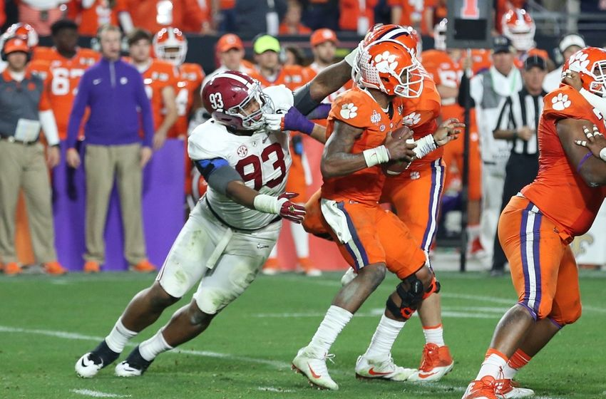 Jan 11, 2016; Glendale, AZ, USA; Alabama Crimson Tide defensive lineman Jonathan Allen (93) attempts to tackle Clemson Tigers quarterback Deshaun Watson (4) in the 2016 CFP National Championship at University of Phoenix Stadium. Mandatory Credit: Mark J. Rebilas-USA TODAY Sports