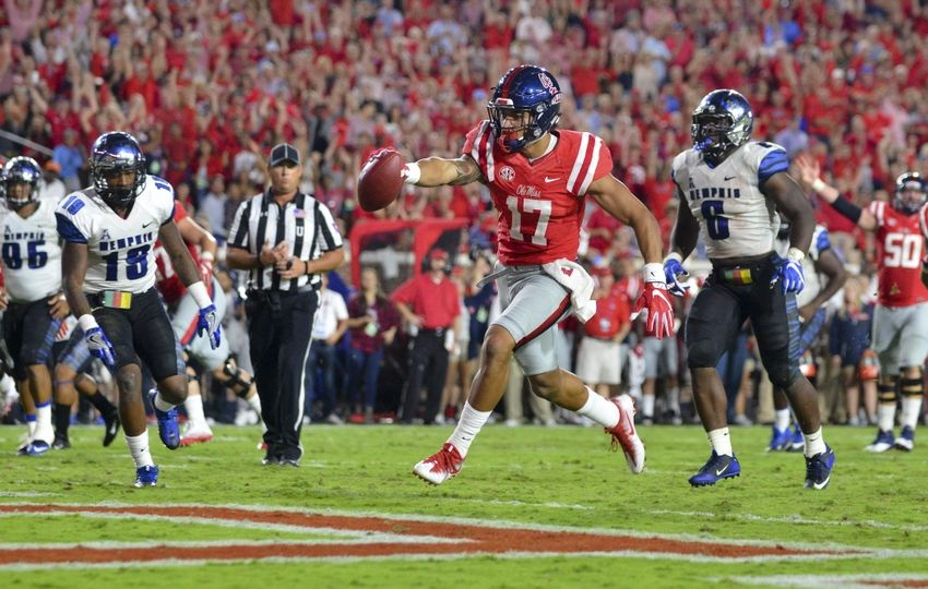Oct 1, 2016; Oxford, MS, USA; Mississippi Rebels tight end Evan Engram (17) scores a touchdown during the third quarter of the game against the Memphis Tigers at Vaught-Hemingway Stadium. Mississippi won 48-28. Mandatory Credit: Matt Bush-USA TODAY Sports