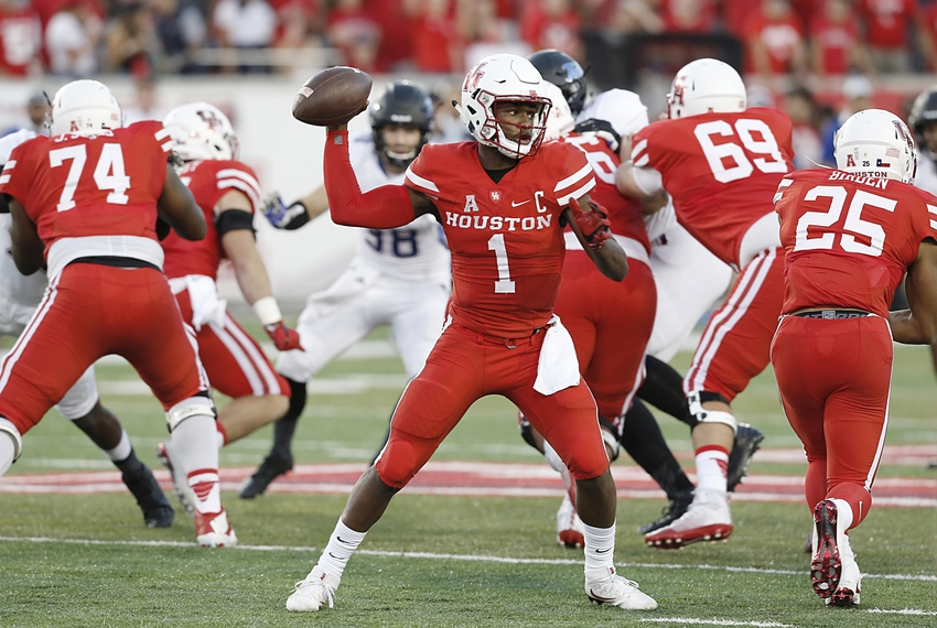Oct 15, 2016; Houston, TX, USA; Houston Cougars quarterback Greg Ward Jr. (1) throws the ball against the Tulsa Golden Hurricane in the first quarter at TDECU Stadium. Mandatory Credit: Thomas B. Shea-USA TODAY Sports