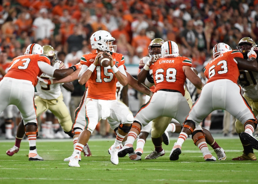 Oct 8, 2016; Miami Gardens, FL, USA; Miami Hurricanes quarterback Brad Kaaya (15) throws a pass during the first half against the Florida State Seminoles during the first half at Hard Rock Stadium. Mandatory Credit: Steve Mitchell-USA TODAY Sports