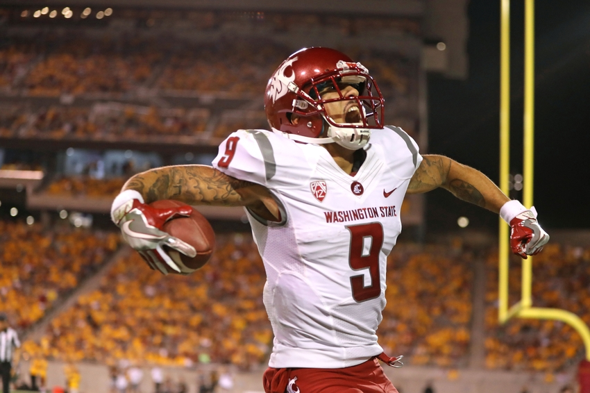 Oct 22, 2016; Tempe, AZ, USA; Washington State Cougars wide receiver Gabe Marks (9) celebrates after scoring a touchdown against the Arizona State Sun Devils at Sun Devil Stadium. Mandatory Credit: Mark J. Rebilas-USA TODAY Sports
