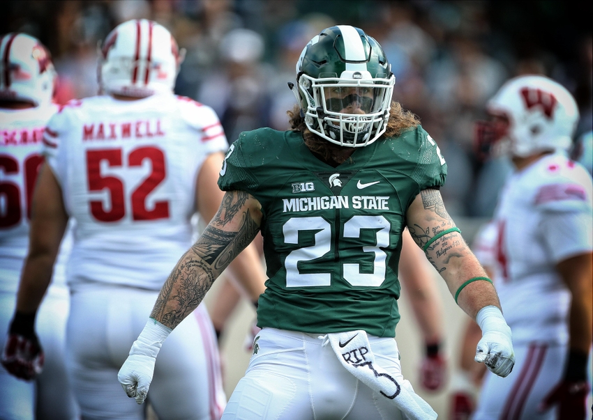 Sep 24, 2016; East Lansing, MI, USA; Michigan State Spartans linebacker Chris Frey (23) looks to the sidelines during the first quarter of a game at Spartan Stadium. Mandatory Credit: Mike Carter-USA TODAY Sports