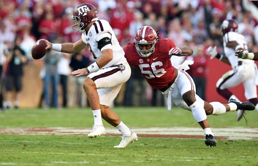 Oct 22, 2016; Tuscaloosa, AL, USA; Alabama Crimson Tide linebacker Tim Williams (56) sacks Texas A&M Aggies quarterback Trevor Knight (8) during the third quarter at Bryant-Denny Stadium. Mandatory Credit: John David Mercer-USA TODAY Sports