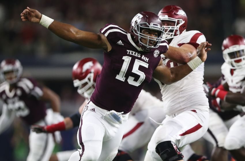 Sep 24, 2016; Dallas, TX, USA; Texas A&M Aggies defensive lineman Myles Garrett (15) during the game against the Arkansas Razorbacks at AT&T Stadium. Mandatory Credit: Kevin Jairaj-USA TODAY Sports