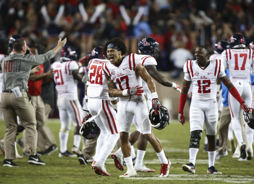 Nov 12, 2016; College Station, TX, USA; Mississippi Rebels tight end Evan Engram (17) celebrates with teammates after the Rebels defeated the Texas A&M Aggies 29-28 at Kyle Field. Mandatory Credit: Troy Taormina-USA TODAY Sports