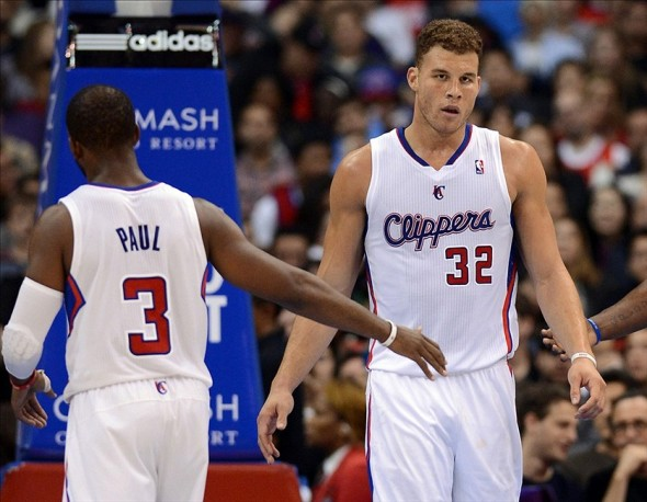Jan 1, 2014; Los Angeles, CA, USA; Los Angeles Clippers point guard Chris Paul (3) and Los Angeles Clippers power forward Blake Griffin (32) in the second half of the game against the Charlotte Bobcats at Staples Center. Clippers won 112-85. Mandatory Credit: Jayne Kamin-Oncea-USA TODAY Sports