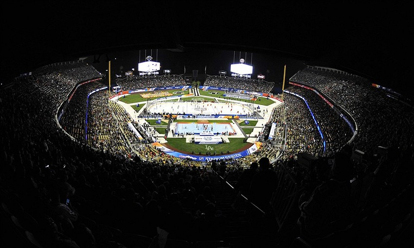 January 25, 2014; Los Angeles, CA, USA; A general view of the Stadium Series hockey game at Dodger Stadium. Mandatory Credit: Gary A. Vasquez-USA TODAY Sports