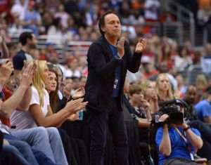 May 11, 2014; Los Angeles, CA, USA; Actor and entertainer Billy Crystal attends game four of the second round of the 2014 NBA Playoffs between the Oklahoma City Thunder and the Los Angeles Clippers at Staples Center. Mandatory Credit: Kirby Lee-USA TODAY Sports
