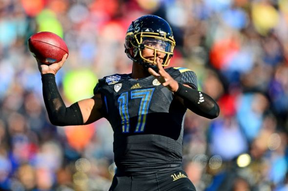 Dec 31, 2013; El Paso, TX, USA; UCLA Bruins quarterback Brett Hundley (17) throws a pass during the third quarter against the Virginia Tech Hokies in the 2013 Sun Bowl at Sun Bowl Stadium. Mandatory Credit: Andrew Weber-USA TODAY Sports