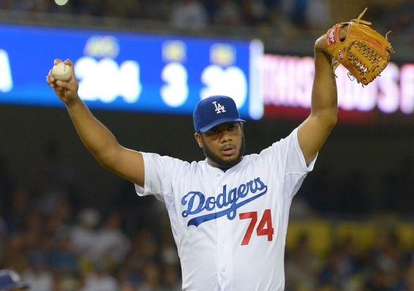 Oct 3, 2015; Los Angeles, CA, USA; Los Angeles Dodgers relief pitcher Kenley Jansen (74) earns a save in the ninth inning of the game against the San Diego Padres at Dodger Stadium. Dodgers won 2-1. Mandatory Credit: Jayne Kamin-Oncea-USA TODAY Sports