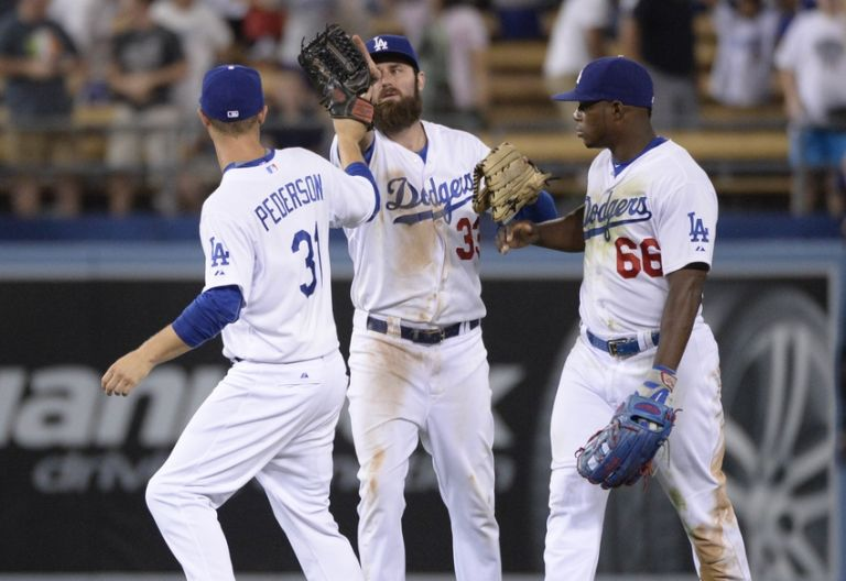 Joc-pederson-yasiel-puig-scott-van-slyke-mlb-oakland-athletics-los-angeles-dodgers-768x0
