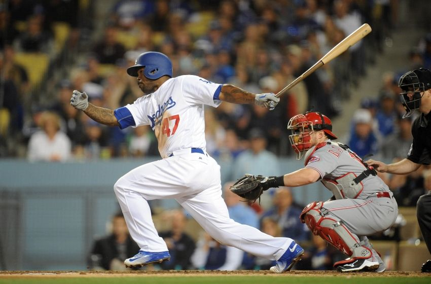 May 23, 2016; Los Angeles, CA, USA; Los Angeles Dodgers left fielder Howie Kendrick (47) hits into a double play on an RBI hit in the sixth inning against Cincinnati Reds at Dodger Stadium. Mandatory Credit: Gary A. Vasquez-USA TODAY Sports